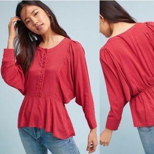 Anthropologie Maeve polka dot peplum blouse medium